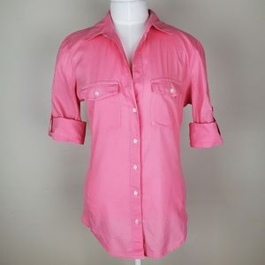James Perse standard pink button down with panels